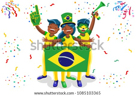 Russia 2018 world cup, Brazil football fans. Cheerful soccer fans, supporters crowd and Brazilians flag. Brazil national day. Isometric people, vector illustration, sports images. Isolated background.