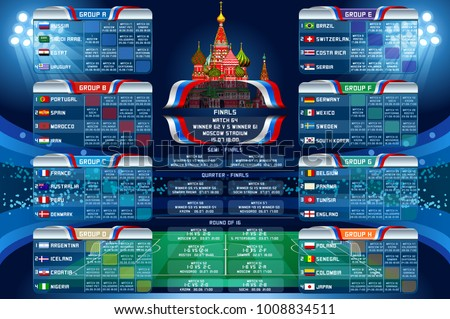 Russia 2018 world cup calendar. Soccer schedule table template vector illustration. Final results with flags of countries match date time and location