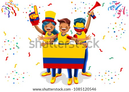 Russia 2018 world cup, Colombia football fans. Cheerful soccer fans, supporters crowd and Colombian flag. Colombia national day. Isometric people, vector illustration, sports images. White background.