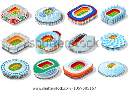 Russia world cup 2018 stadium. Isometric icon set for infographic elements Football arenas. Soccer stadiums buildings.  World cup. Vector stadium gym arena illustration in flat russian style isolated.