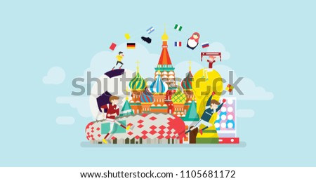 Russia World Soccer Tournament Tiny People Character Concept Vector Illustration, Suitable For Wallpaper, Banner, Background, Card, Book Illustration, Web Landing Page, and Other Related Creative #1105681172