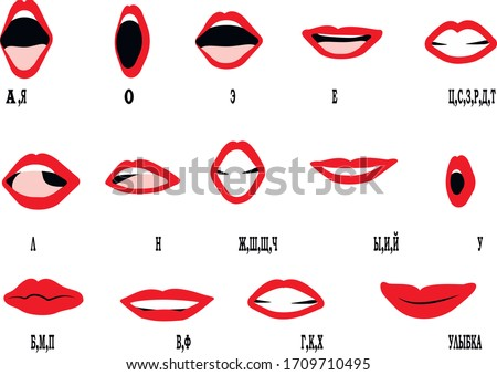 Russian alphabet lips sync motion frames, text translation: 'A,Ya; O; E; Ye; Ts,S,Z,R,D,T; L; N; Zh,Sh,Sch,Tsch; Y,I,Yi; U; B,M,P; V,F; H,K,Kh; Smile'. Stock foto ©