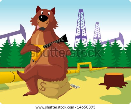 Russian bear sits on a bag with money