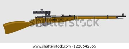 russian bolt action rifle vector illustration