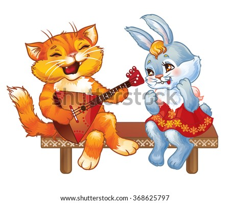 russian cat and bunny  playing