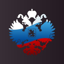 Russian coat arms double-headed eagle emblem. Symbol of empire Russia flag