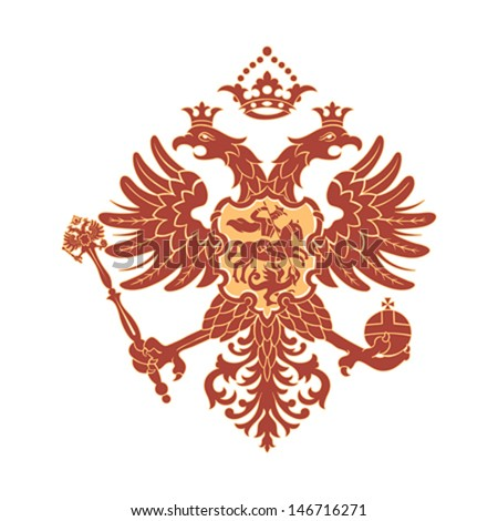Russian coat of arms double-headed eagle isolated