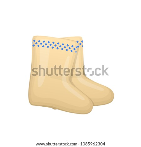 Russian culture, landmarks and symbols. Pair of Russian traditional boots with decorative ornaments. Winter warm shoes. Warm soft boots made of wool. Vector illustration isolated.