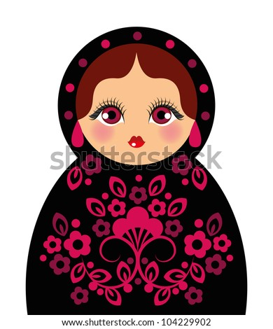 Russian doll. Ideal for card design, fabric, scrapbook, wrapping paper
