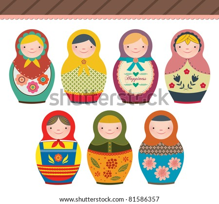 russian doll in retro style