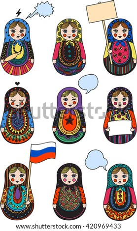 Russian doll - matryoshka. Various actions and emotions.