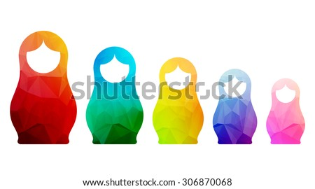 russian dolls icons set logo