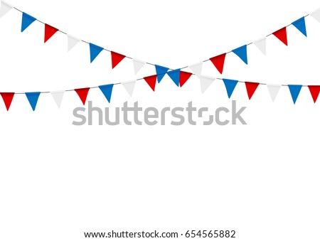 Russian flag festive bunting against. Party background with flags.