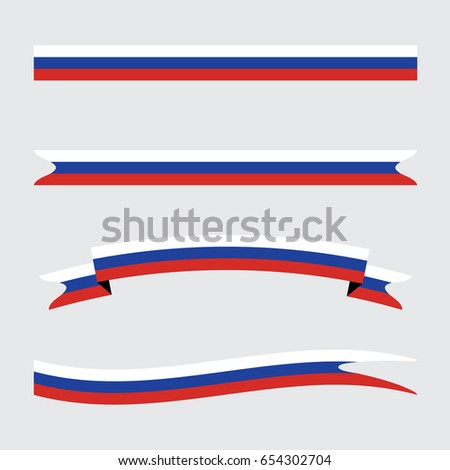 Russian Flag Ribbons. Vector.