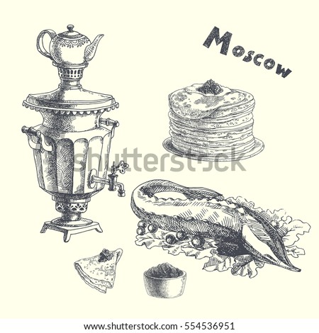 russian food set vector hand