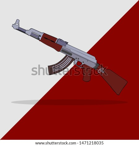Russian gun ak-47. kalashnikova weapon illustration. background. vector