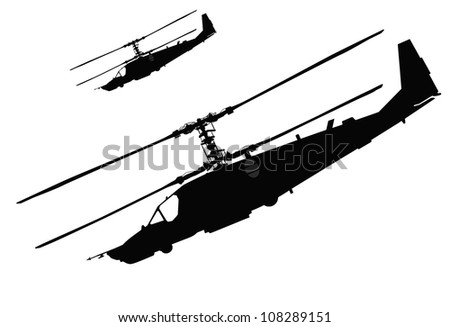 Russian Ka-50 Black Shark (Hokum A) attack helicopter silhouette. Vector