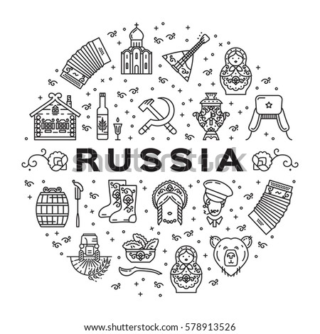 Russian line icons circle infographics. Russian traditional symbols - flag, food, matryoshka doll, vodka, samovar, balalaika, bear, USSR, ornament and etc. Vector flat illustration #578913526