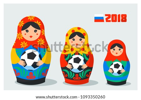 Russian Matrioshka set. Russia symbol with soccer ball, and Russian flag with 2018 text . Vector traditional russian nesting dolls with football ball. Matroska icon on light background. Vector