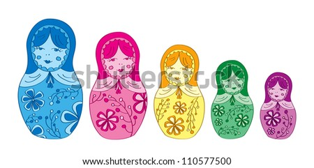 Russian matryoshka doll with floral pattern stock vector