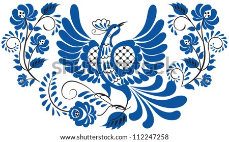 Russian national floral pattern - gzhel. Bird on the branch with leaves, swirls and flowers.