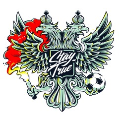 Russian national symbol two-headed eagle with football fan attributes: fire and ball. Soccer fan emblem.