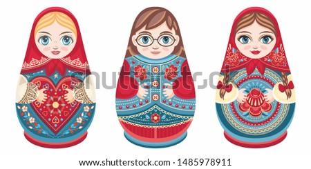 Russian nesting dolls Matryoshka. Babushka doll.Matryoshkas family vector.Russian doll. Matrioshka isolated.Matryoshka set family.Russian Matryoshka stacking dolls.Russian doll set isolated.Kokeshi