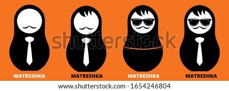 Russian nesting dolls Matryoshka. Babushka doll. Matryoshkas family vector.Russian doll. Matrioshka isolated.Matryoshka set family. Russian Matryoshka stacking dolls. Russian doll set isolated. Logo