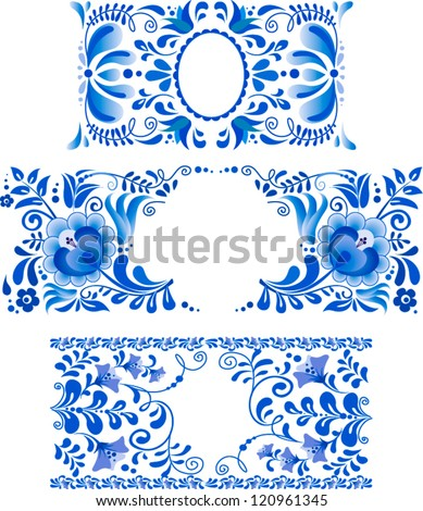 Russian ornaments art frames in gzhel style Gzhel a brand of Russian ceramics painted with blue on white