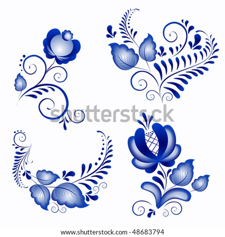 Russian ornaments in gzhel style.  Gzhel (a brand of Russian ceramics, painted with blue on white)