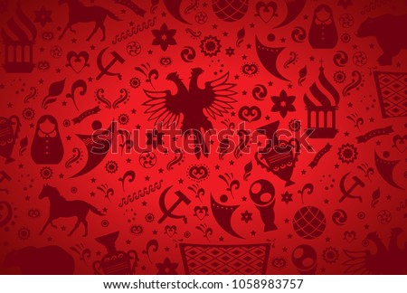Russian pattern wallpaper isolated on red background. Modern design for web site,poster,placard,banner template and backdrop. Creative art concept,vector illustration eps 10
