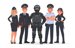 Russian police officers on a white background. Vector illustration in cartoon style