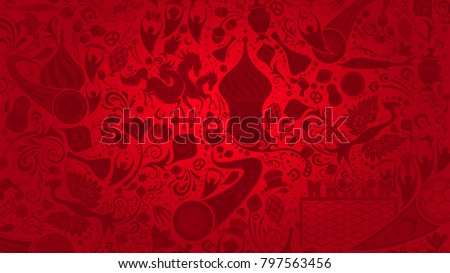 Stock Photo Russian red wallpaper, 16:9 aspect ratio, world of Russia pattern with modern and traditional elements, 2018 trend background, vector illustration