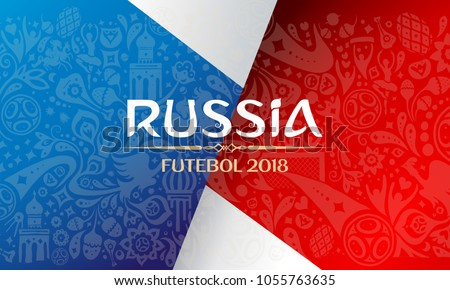 Russian red wallpaper cup, blue, world of Russia pattern with modern and traditional elements, 2018 trend background, vector illustration. World of russian elements vector illustration football