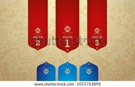 Russian red wallpaper label, blue, world of Russia pattern with modern and traditional elements, 2018 trend background, vector illustration. World of russian elements vector illustration football