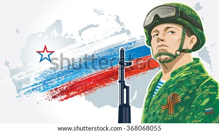 russian soldier and kalashnikov