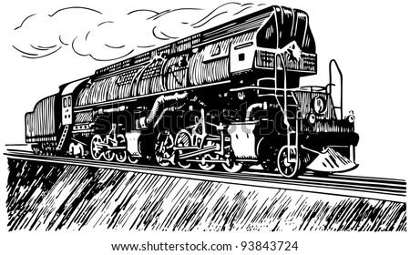 Russian steam locomotive - stock vector