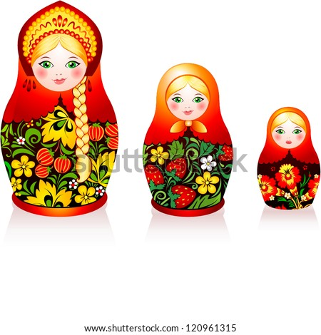 Russian tradition matryoshka dolls in hohloma style a brand of Russian traditional ornaments used for painting on wooden things spoons dishes etc