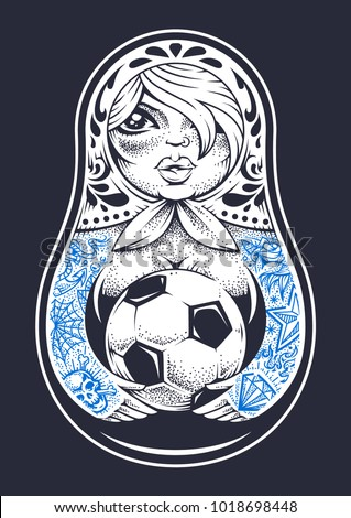 Russian traditional doll matryoshka with old school tattoos holds soccer ball in her hands. Dot work style vector illustration.