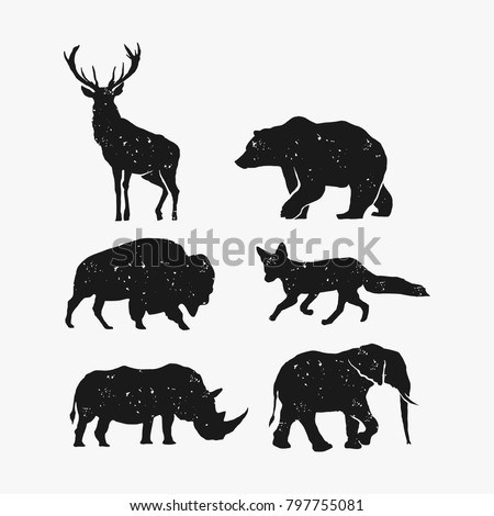 rustic animal bundle vector, bear deer bison fox rhino elephant vector