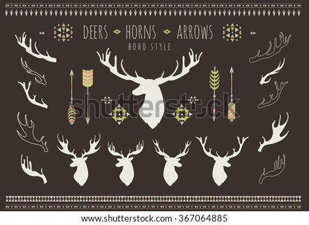 rustic antlers set silhouettes