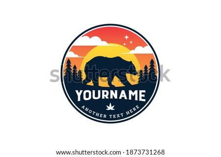 Rustic badge bear in the mountain logo template