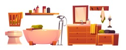 Rustic bathroom stuff in retro style set. Wooden vintage furniture, bath tub, toilet and basket for dirty linen, shelf, mirror and washbasin, clean towels and hanger isolated cartoon vector clip art