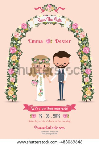 Rustic blossom flowers cartoon couple wedding invitation card on pink background #483069646