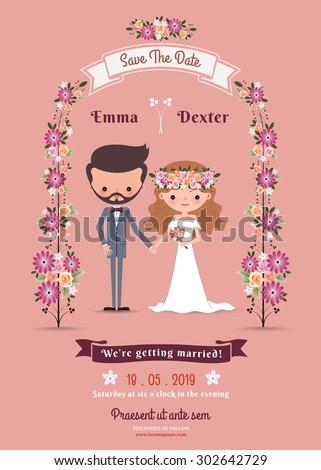 Rustic Bohemian Cartoon Couple Wedding Card On Pink Background 302642729