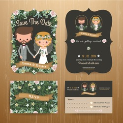 Rustic bohemian cartoon couple wedding card template set on wood background