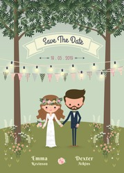 Rustic bohemian cartoon couple wedding invitation card in the forrest, Chic and romantic card