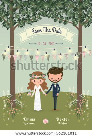 Rustic bohemian cartoon couple wedding invitation card in the forrest, Chic and romantic card #562101811