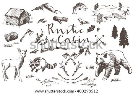 rustic cabin hand drawn...