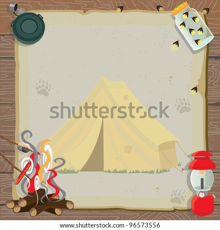 rustic camping party invitation ...